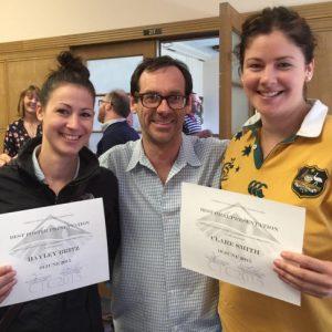 Abe Palmer w/ award winners: Hayley Britz & Clare Smith