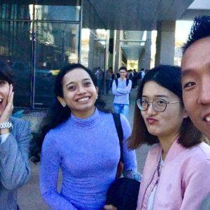 Sandra Sanchez, Apurva Chitre, Xinxin Zhou, Yuyu Ren -- Fire drill selfie -- Feb 2017